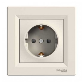 Schneider Electric concealed 1-slot electricity socket Asfora, grounded, child protection, beige, with frame, IP20, EPH2900223