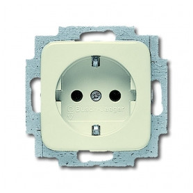 ABB Busch Jaeger concealed 1-slot electricity socket Busch-Duro 2000 SI, grounded, beige, IP20, 2CKA002011A3788