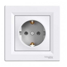 Schneider Electric concealed 1-slot electricity socket Asfora, grounded, white, with frame, IP20, EPH2900121