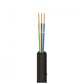 Draka corrugated pipe, with 3x1.5mm² cables D16mm, black PROFIT ML 100m