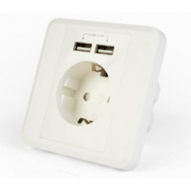 Gembird AC Wall Socket with 2 port USB Charger