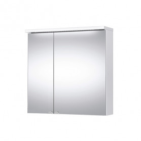 Riva SV 70C White Wall Mirrored Cabinet with 2 Doors, LED Light, Socket.
