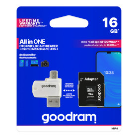 Goodram MicroSDHC 16GB All in one class 10 UHS I + Card reader