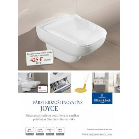 Villeroy Boch Joyce hanging WC toilet bowl, with soft close seat