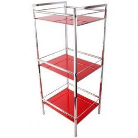 Duschy 543-80 shelf with red glass shelves, 3 levels 35x30x84cm