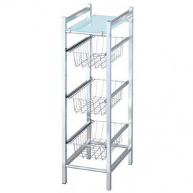 Duschy 547-10 shelf SLIM with white glass shelve and 3 drawers