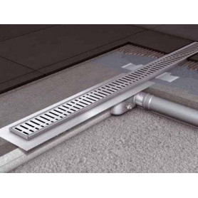 ACO stainless steel channel type shower trap with WAVE grill, with hydro isolation 785mm