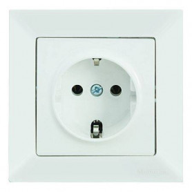 Mutlusan Candela electricity socket, grounded, white