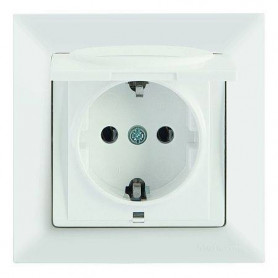 Mutlusan Candela electricity socket, grounded, with cover, white