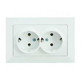 Mutlusan Candela double electricity socket, grounded, white