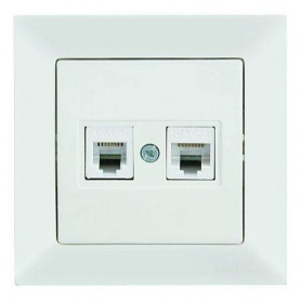 Mutlusan Candela combined socket, data+ telephone, RJ12+Cat5e, white