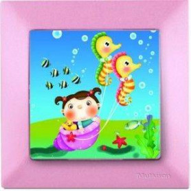 Candela Kids Sea Horse Pembe electricity switch, 1pole, 2127 520 0111