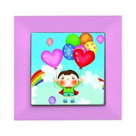 Candela Kids Love Pembe electricity switch, 1pole, 2127 522 0111