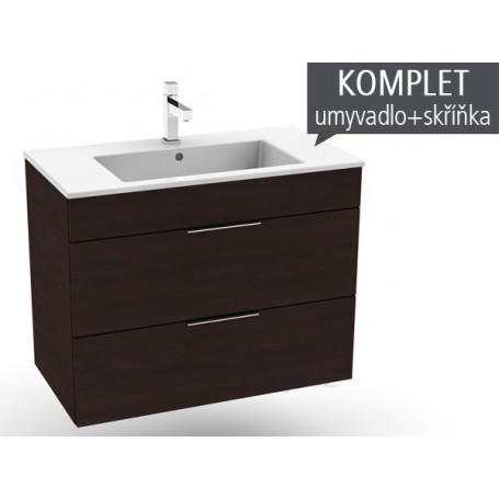 Jika Cube bathroom vanity unit with washbasin with 2 drawers WB 80 × 43 cm ...