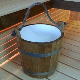 Sauna water bowl with handle 12L, oak