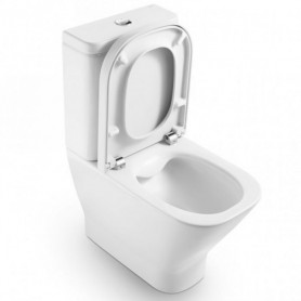 Roca The Gap Rimless Compact WC toilet bowl, with soft close seat, universal outlet, bottom water connection, white