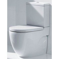 Roca Meridian Compact WC toilet bowl, with soft close seat, universal outlet, bottom water connection, white