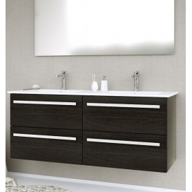 Raguvos Baldai Serena bathroom vanity unit with washbasin 121cm, black oak 14113801