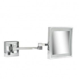 Geesa 911079 shaving mirror, double, wall mounted, LED, 3x magnifying, 205x205 mm