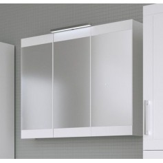 Raguvos Baldai Serena Retro bathroom mirror cabinet 90cm with lighting, glosy white 1302611