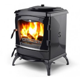 Waterford cast iron firewood heating oven REGINALD, with water heater, matte
