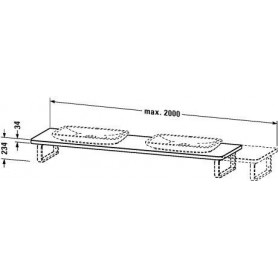 Duravit PuraVida Console, for back-to-wall PV072C 550 mm