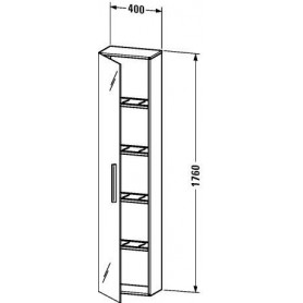 Duravit Vero tall bathroom cabinet, door with mirror on both sides VE1125 L/R 400 x 230 mm