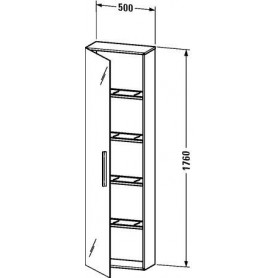 Duravit Vero tall bathroom cabinet, door with mirror on both sides VE1175 L/R 500 x 230 mm