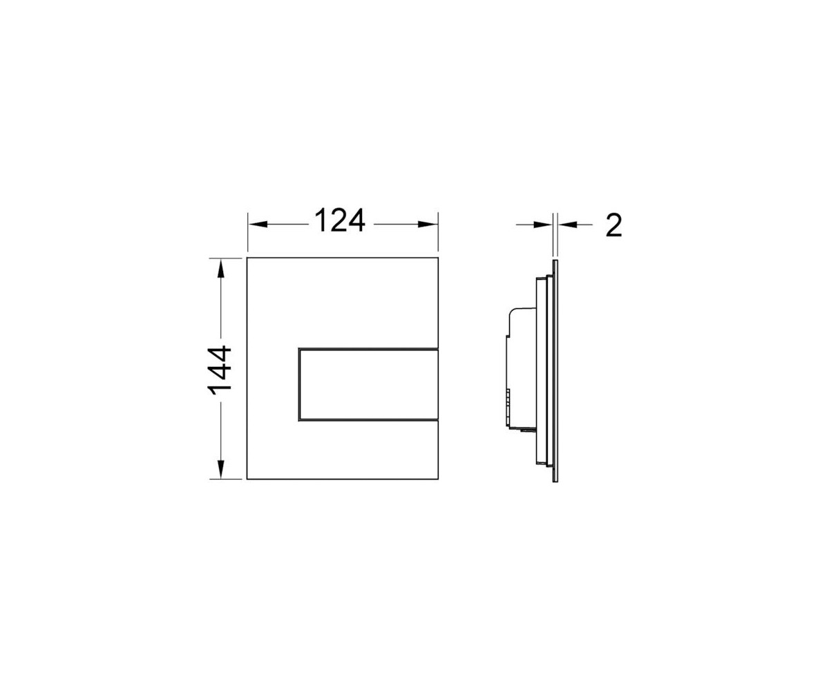 TECEsquare build in frame urinal button, stainless steel, matte 9242810