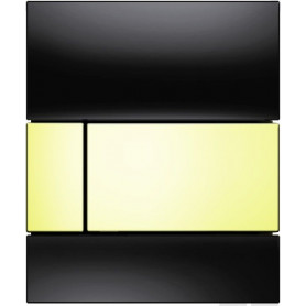 TECEsquare build in frame urinal button, black glass, gold buttons 9242808