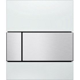 TECEsquare build in frame urinal button, white glass, matte stainless steel buttons 9242801