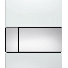 TECEsquare build in frame urinal button, white glass, chrome buttons 9242802