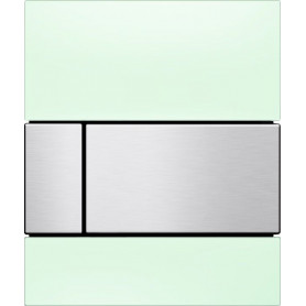 TECEsquare build in frame urinal button, green glass, matte chrome buttons 9242804