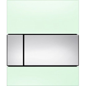 TECEsquare build in frame urinal button, green glass, chrome buttons 9242805