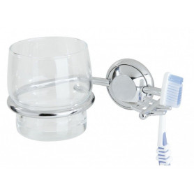 Tiger Torino glass and toothbrush holder, chrome