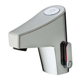 SENSITIVE MIXER PRESTO NEW TOUCH WHITE -BATTERY- WITH STRAIGHT STOP VALVE