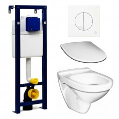 Gustavsberg Nautic 5530 WC toilet bowl set with Triomont XS build in frame, chrome button and soft close seat