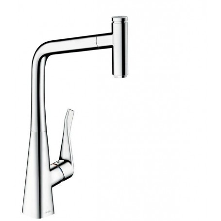 hansgrohe metris select kitchen mixer pull out spout chrome 14884000. Black Bedroom Furniture Sets. Home Design Ideas