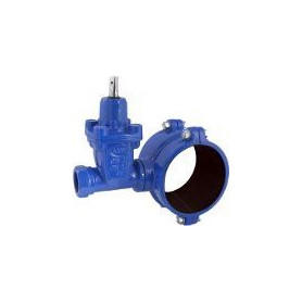 Industrial vertical valve with saddle for PE pipes 1 1/4 F x D110mm