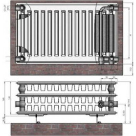 Termolux steel radiator with bottom connection 33x500x 500 VCO