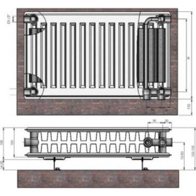 Termolux steel radiator with bottom connection 22x300x 600 VCO