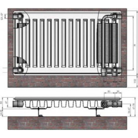 Termolux steel radiator with bottom connection 11x400x1000 VCO