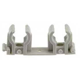 Melting PPR pipe mount D25, double, gray