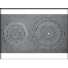 Jugne-L cast iron stove surface, A-16, 400x700, with rings