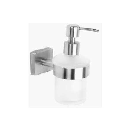 Bade Piryt Glass Liquid Soap Dispenser With Holder Brushed