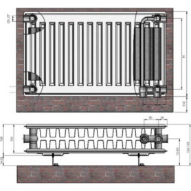 Termolux steel radiator with bottom connection 22x300x 500 VCO