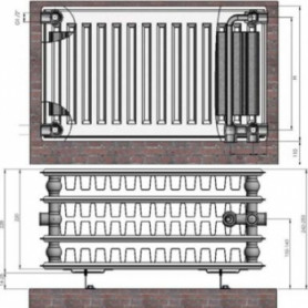 Termolux steel radiator with bottom connection 44x300x 600 VCO