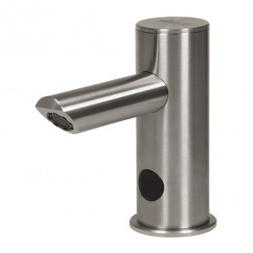 Sanela Automatic stainless steel washbasin tap, one water inlet, longer outlet arm, 24V DC