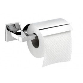 Tiger Items toilet paper holder with cover, brushed stainless steel