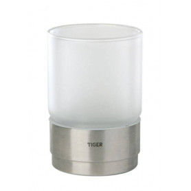 Tiger Boston surface mounted glass holder, brushed stainless steel